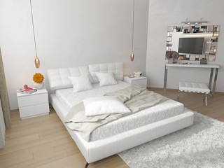 bedroom with white bed