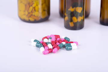 Colorful pills and tablets.
