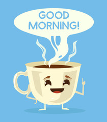 Cute cup of coffee. Good morning with black coffee. Vector flat cartoon illustration