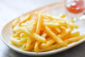 French fries dish and ketchup dip