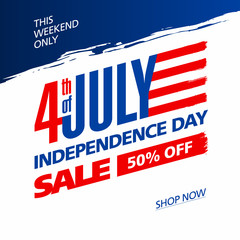 Fourth of July USA Independence day sale banner design template
