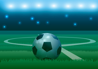 Vector illustration. Soccer ball on a football background.