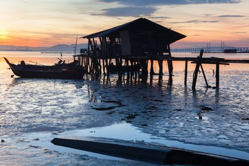 Wooden bridge Sunrise in George Town, Penang Malaysia