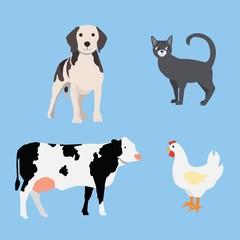 Farm animals set: dog, cat, cow, chicken