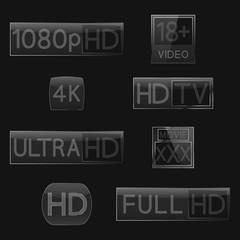 High definition signs, vector illustration