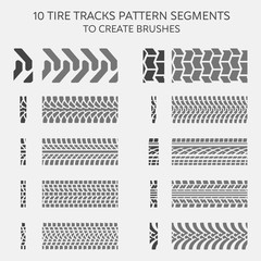 Tire tracks pattern segments to create brushes
