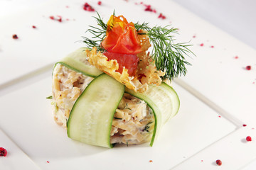Salad with cucumber in Russian style
