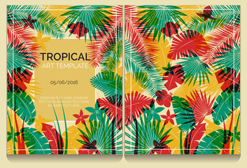 Tropical offset print effect jungle illustration