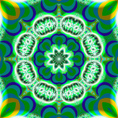 Green and blue flower effect fractal