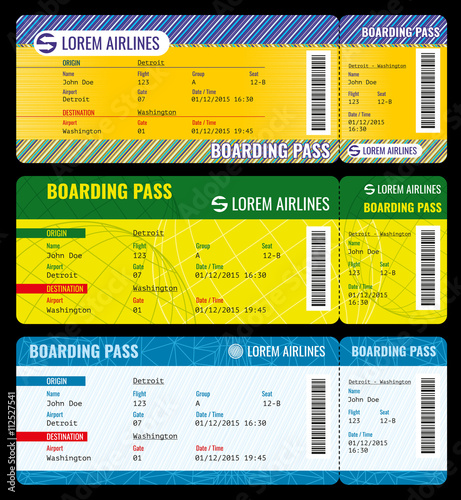 Airline boarding pass modern tickets vector mockup Ticket – Airline Ticket Template Free
