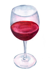 Glass of red wine, hand painted on white background