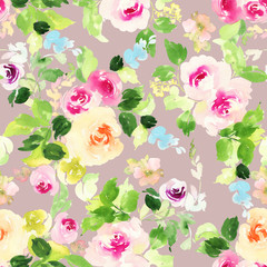 Seamless pattern with flowers watercolor