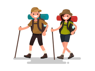 Hiking tourists walk. A young family couple. Vector illustration