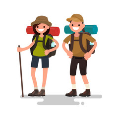 Hiking tourists. Young family couple. Vector illustration