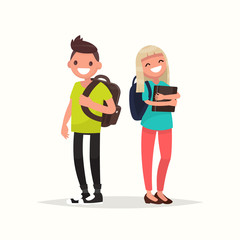 Young couple students. Vector illustration