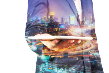 Double Exposure of BusinessMan hold Digital Tablet with Modern C