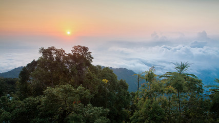 Amazing Sunrise above cloud in Penang Hill view of George Town City , Penang Malaysia