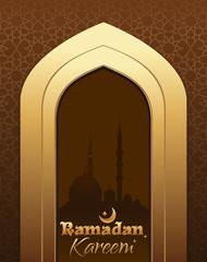 Greeting card with traditional Islamic pattern, arch in mosque, arabian night and stylish text Ramadan Kareem. Ramadan Kareem decorative background design. Vector illustration