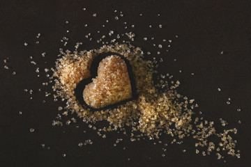 Natural Brown Sugar with a Heart Shape