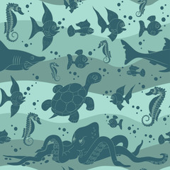 Vector illustration of sea waves with sea life