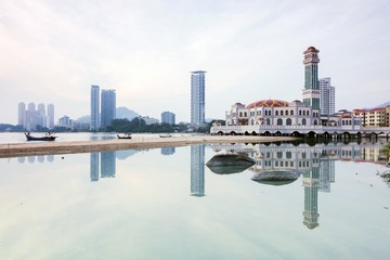 Reflection of Floating Mosque in George Town, Penang Malaysia