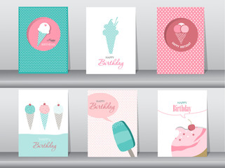 Collection  of  greeting and invitation card,birthday, holiday, christmas,ice cream,sweet,summer,gift,cartoon, vector illustration