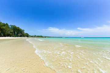 Wall Mural - Scenery tropical beach at Koh Kood Island, Summer exotic beach with sea wave on the sand, Wonderful transparent shallow beach with blue sky
