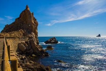 mirador, mar, roca