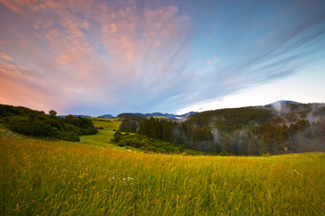 Spoed Foto op Canvas Blauwe hemel Turiec region after an evening storm, northern Slovakia.