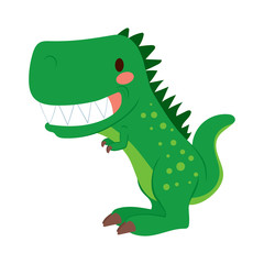 Funny green cartoon T-rex dinosaur toy showing teeth
