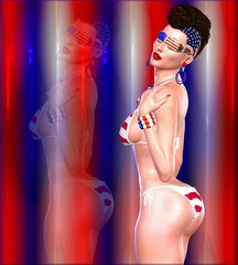 Sexy Mohawk girl in U.S. bikini of starts and stripes with matching background and glasses.