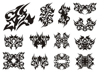 Tribal horned peaked dragon symbols. Dangerous dragon head tattoo, frames and other ornate symbols from him