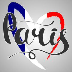 Paris lettering. Hand written Paris. Flag of France in the form
