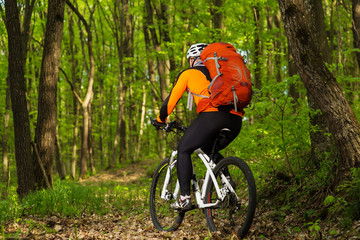 Man bikes in the green forest