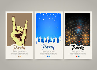 Modern colorful vertical music party banners. Flyer set.