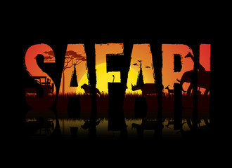 Vector illustration of safari text design on black background. Safari theme