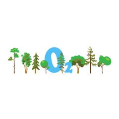 Cartoon image of photosynthesis trees