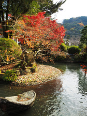 Japanese pond in garden at the Yutoku shrinein autumn, Saga prefecture