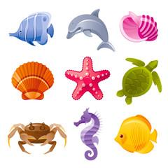 Colorful cartoon icon set of sea animals