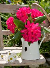 Rhododendron Blumenstrauß in einer weißen Blechkanne