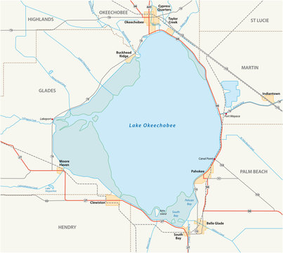 vector road map of Lake Okeechobee in the US State of Florida