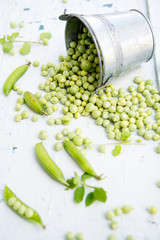 Fresh green peas in pods