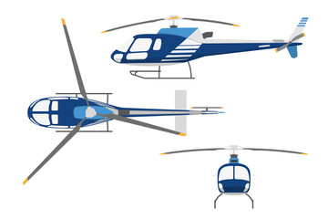 Drawing a helicopter in a flat style. Top view , side view, fron