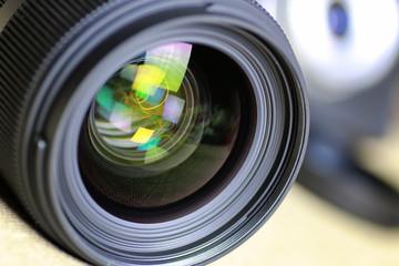 Lens flare retro camera