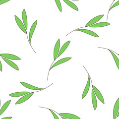 Seamless background with green branch of a plant