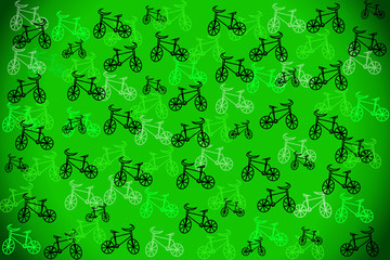 Green background with bicycles