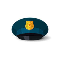Police hat vector illustration, blue officer cop cap with black peak and police badge design isolated on white
