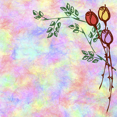Hand drawn textured floral background.Crumpled paper with rose and leaves.Template for letter or greeting card. Square shape. Series of Watercolor,Oil,Pastel,Chalk, Backgrounds and Cards,Blanks,Forms.