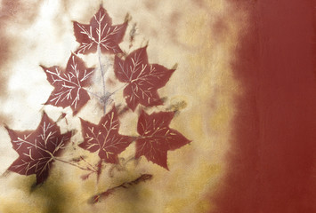 maple leaves painted on the fence