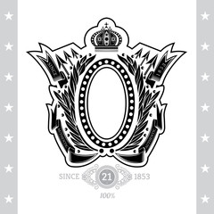 Oval Frame Between Laurel Wreath, Arrows And Winding Ribbon. Vintage Label With Coat of Arms Isolated On White